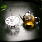 Glass Teapot and Candle Warmer Stand